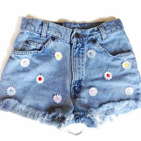 High Waisted Rainbow Daisy Denim Shorts Hipster Tumblr