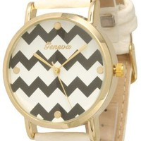 Women's Geneva Chevron Style Leather Watch - White