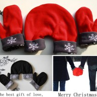 Hot!Black 3 Pcs Lovers Gloves Mittens Warm Winter Sweethearts Outfit Christmas Gift