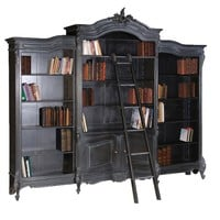 Moulin Noir Triple Bookcase   Painted French Bookcase   Black Painted French Storage Cupboard