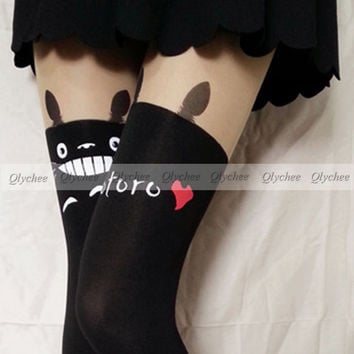 New Japan Totoro Print Knee High Length Socks Chinchilla Tattoo Tights Pantyhose