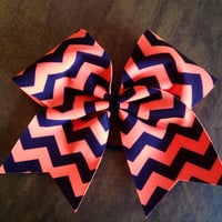 Cheer Bow - Neon Orange Chevron