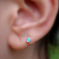 Opal Tragus Earring Hoop Sterling Silver Handcrafted 3mm Stone