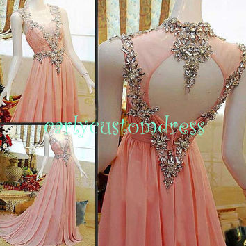 Long Blush Prom Dress/Beaded Backless Bridesmaid Dress/Peach Red Grey Chiffon Evening Dress/Homecoming Dress/Graduation Dress/Formal Dress