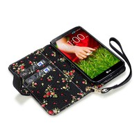 LG G2 Premium Faux Leather Wallet Case with Floral Interior (Black)