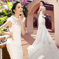 Affordable Ivory White Cap Sleeve Maternity Mermaid Wedding Gown Dress SKU-117061
