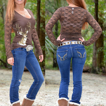 Sexy lace deer hunting top, perfect for those night out on the town, youll be dressed to kill in sporty girl hunting clothing