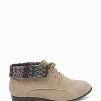 Korsa 02 Pu Tribal Cuff Down Lace Up Boot