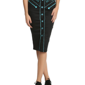 Hell Bunny Locked Heart Pencil Skirt