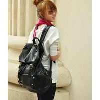 Black PU Leather-like Material Backpack/ Schoolbag