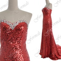 Red Prom Dress, 2014 Sequin Prom Dresses, Mermaid Strapless Sequin Long Red Prom Dresses, Evening Gown, Sequin Evening Dresses, Formal Gown