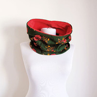 Winter Neckwarmer Scarf , Red and Green, Ethnic Turkish Cotton and Fleece, Scarf, Women's Fashion Accessories