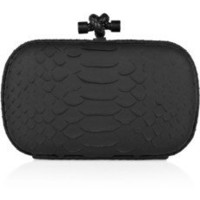 Bottega Veneta|Knot snakeskin clutch|NET-A-PORTER.COM
