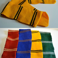 Hufflepuff House Scarf - inspired by Harry Potter - Crochet