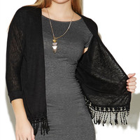 3/4 Sleeve Fringe Wrap | Wet Seal