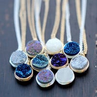 Druzy Bezel Pendant Necklace, Sterling Silver, Gold or Rose Gold, Titanium Agate Quartz Gemstone Fashion