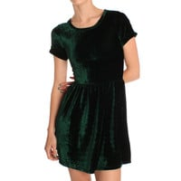 Hearts & Bows Green Canham Velvet Skater Dress