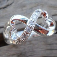 Infinity Heart Silver Plated Zirconium Ring Size 7