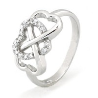 925 Sterling Silver Cubic Zirconia Infinity and Heart Ring