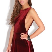 Zandra Wine Velvet Backless Skater Dress - Dress - PrettyLittleThing.com | PrettyLittleThing.com