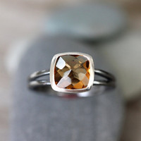 Rose Cut Citrine Gemstone Ring With Blackened and Polished Sterling Silver, Made To Order