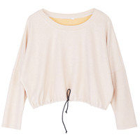 ROMWE | ROMWE Drawstring Long -sleeved Apricot T-shirt, The Latest Street Fashion