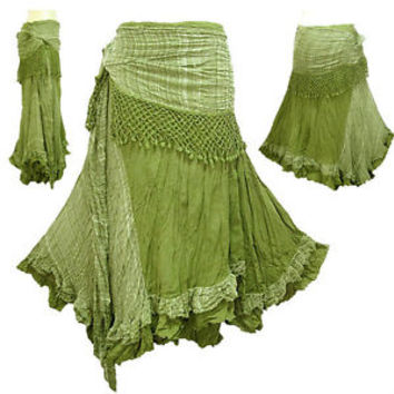 BOHO/HIPPY/GYPSY CROCHET TIE WAIST COTTON SKIRT - NG1X (many colours to choose)