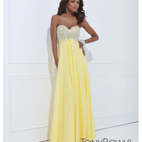 (PRE-ORDER) Tony Bowls 2014 Prom Dresses - Yellow Rhinestone Strapless Sweetheart Chiffon Gown