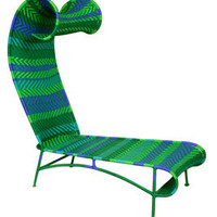 shadowy chaise by moroso m'afrique in green/blue - ABC Carpet & Home