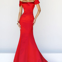 Graceful Satin Mermaid Off-the-shoulder Neckline Evening Dress