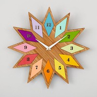 Chromatic Rainbow Atomic Sunburst Bamboo Wall Clock