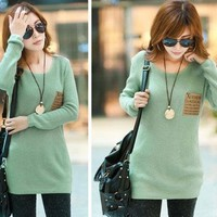 Women Loose Knitted Sweater Jumper Long Sleeve Crew Neck Pullover Outwear Tops (Green)