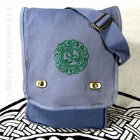 Triskele Celtic Knot Field Messenger Bag Cotton Canvas with Embroidery