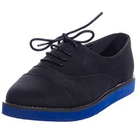 Sole of Wit Blue Sole Lace Up Flats - Black