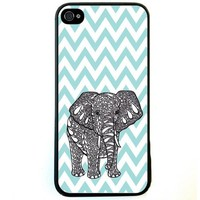 Fashion Zigzag Print Cute Elephant Hard Plastic Case Cover for iPhone 4 4S (G)