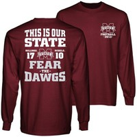 Mississippi State Bulldogs vs. Mississippi Rebels 2013 Egg Bowl Score Long Sleeve T-Shirt - Maroon