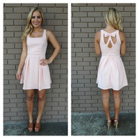 Blush Pink Cascade Bow Back Dress