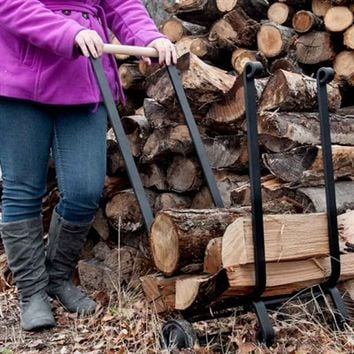 Heavy-Duty Firewood Cart With Wheels