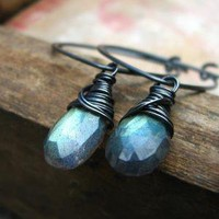 Solaris wire wrapped labradorite earrings by noblegnome on Etsy