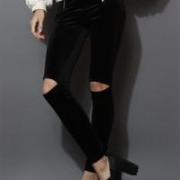Cut Out Velvet Legging in Black Black