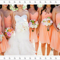 Coral Bridesmaid Dress, Bridesmaid Dress Cheap, Short Chiffon Bridesmaid Dress, Modest Sweetheart Bridesmaid Dress,Short Bridesmaid Dress