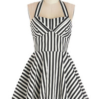 Traveling Cupcake Truck Dress in Licorice Stripe | Mod Retro Vintage Dresses | ModCloth.com