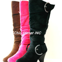 Women Buckle Mid Calf Tall Boots Fux Suede High Heel Fashion Big Size NEW Shoes