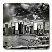 Roni Chastain NYC - NYC, black-white, east river, skyline - Light Switch Covers - double toggle switch