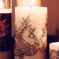 Henna Peacock Pillar Candle