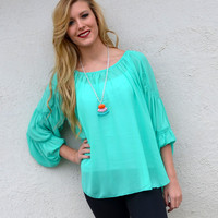 Sheer Bliss Tiered Sleeve Jade Top