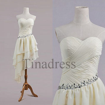 Custom beige beaded short prom dresses from tinadress on etsy for Beige short wedding dresses