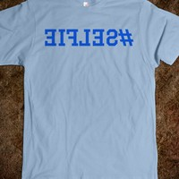 SELFIE HASHTAG MIRRORED T-SHIRT (BLUE ICL02)