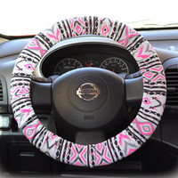 Steering-wheel-cover-wheel-car-accessories-Aztec-Neon-Pink-Steering-Wheel-Cover