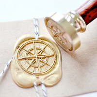 Compass Gold Plated Wax Seal Stamp x 1